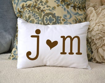 2nd cotton anniversary personalized, heart pillow, second anniversary, brown heart pillow, newly engaged gift, best romantic gift