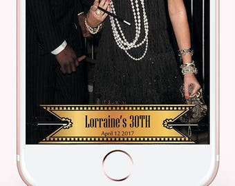 Great Gatsby Party Photo Gatsby Party Photo Booth Great Gatsby themed party Snapchat Geofilter Birthday geo tag photos Custom Snapchat