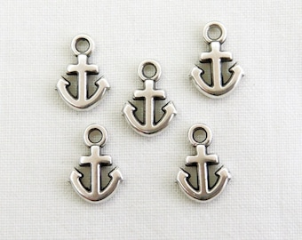 Silver Plated Anchor Charm, Nautical Charm, Anchor Pendant 12x9mm - 4 pcs