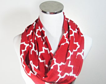 Red Scarf, Red Infinity Scarf. Red  Geometric Scarf.Red Loop Scarf. Red Holiday Scarf.Scarf.loop Scarf.Circle Scarf. Infinity Scarf