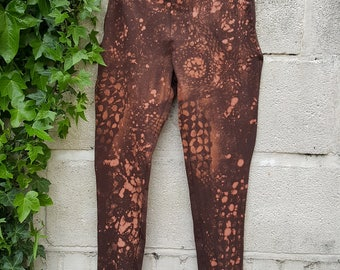 Leggings with Abstract Floral Patterns and Tie Dye Effect