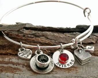 Tea Lover Personalized Adjustable Wire Bangle Bracelet