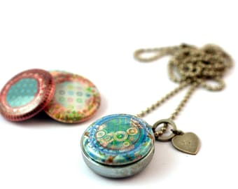 Mandala Necklace, Mandala Locket, Magnetic, 4 in 1, Picture Locket, Minimalist Jewelry, Long Necklace, Layering Necklace, Holds Picture