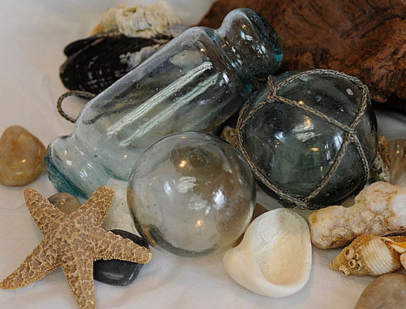 3 Unique Vintage Japanese GLASS FISHING FLOATS Net, Rolling Pin & Clear W/Bubbles (#39)