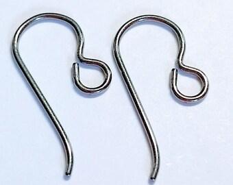 Silver Niobium Ear Wires QTY DISCOUNTS! Nickel Free Earrings Hypoallergenic Earrings For Sensitive Ears Nickel-Free Earring Hooks