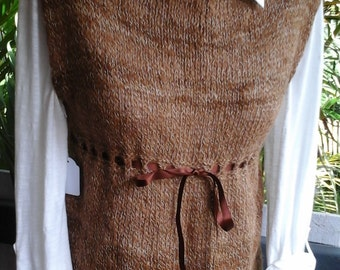 Handspun handknit Ribbon Top Alpaca and silk