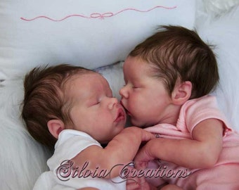 Custom SET Twins A & B by Bonnie Brown 17 Inches 3/4 Limbs. Both Babies! Vinyl.