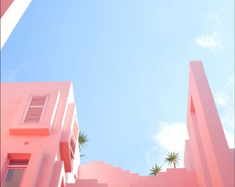 Red Wall Building Spain Pink Architecture Structure Art Print Wall Decor Image - Unframed Poster