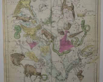 1835 Antique Celestial Map Engraving Sagittarius Libra Scorpio Capricorn