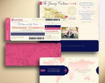MEGHAN Boarding Pass Airline Ticket Plane Ticket Destination Wedding Invitation Suite