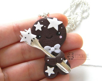 Gingerbread man biscuit, marzipan, necklace