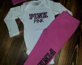 Infants custom made Pink Set