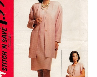 "A Cap Sleeve, V-Neckline Straight Dress & Long Cardigan Jacket Pattern for Women: Uncut- Sizes 16-18-20, Bust 38""-42"" ~ Stitch 'n Save 6653"