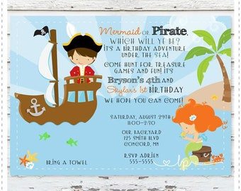 Pirate Mermaid Birthday Invitation
