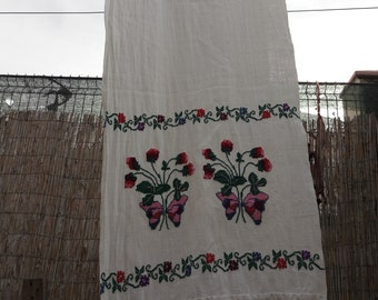 Romanian traditional cotton table runner, handmade, hand stiched embroidery
