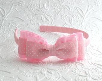 Light Pink Ruffle Bow Headband Toddler Girls, Big Girl Birthday Headband