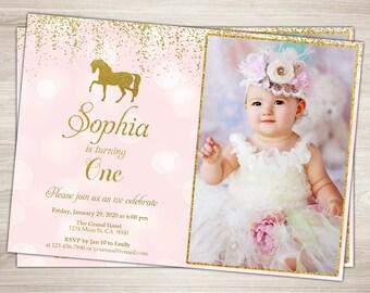Horse Birthday Invitation. Horse Invitation. Pink and Gold Horse Birthday Invitation. Pony Birthday Invitation. 1st Birthday Cowgirl Invite