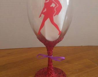 Sailor Mars glitter wine glass