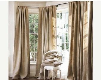 ON SALE 100 % Natural Jute Burlap Panel Drape Backdrop Window Curtains - 2 pc Set Made in USA