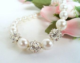 Bridal Bracelet, Pearls Rhinestones, Glitter,  Wedding Jewelry,  Pageant Jewelry., Glitz Jewelry, Bridal Jewelry,