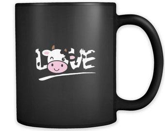 I Love Cows Funny Farmer Animal Cow Black 11oz Mug