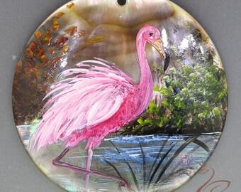 Hand painted  flamingos, Hand painted pendant, Hand painted necklace,, Painting flamingos, Shell painting flamingos.