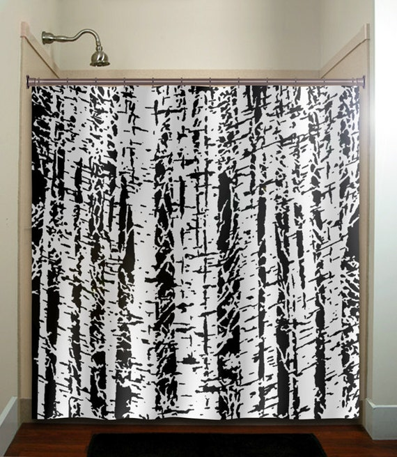 forest woodland white birch trees shower curtain extra long