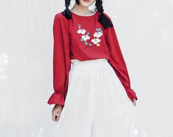 Lost in Kyoto collection red Camellia japonica floral top