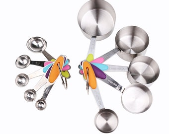 10 Pcs Set Measuring Spoons Cups 1.25-250 ml Stainless Steel Silicone Handle Baking Cooking Tools