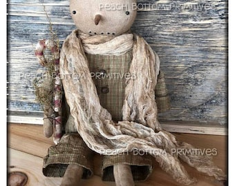 ePattern~Primitive Winter Snowboy Snowman Doll Sewing Pattern, PDF File Instant Download Christmas