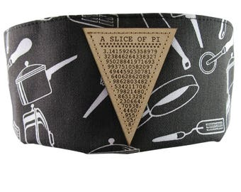 A Slice of Pi Math Pun Laser Engraved Genuine Leather Patch Sewn on an Adjustable Cook Style Black and White Utensils Print Pillbox Hat
