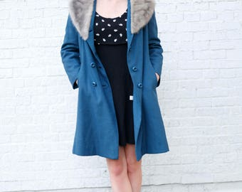 Vintage Blue Coat with Grey White Silver Mink Fur Collar! Excellent Condition! Youthcraft GGGV# 38