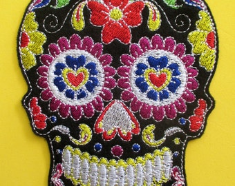 No. 3 Large Embroidered Black Sugar Skull Applique Patch, Iron On,  Sew On, Biker Patch, Tattoo, Day of the Dead, Dia de los Muertos, Mexico