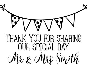 STP-FD.0142 Personalised Laser Rubber Stamp - Custom Stamp - Wedding Thank You: Bunting