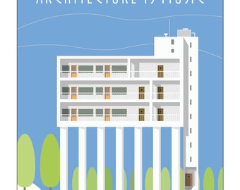 """Art print """"Architecture is Music"""". A stylish modernist architecture scene. Signed and numbered."""
