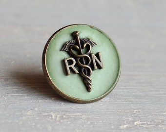 mint green concrete nurse pin, nursing pin, registered nurse, rn pin, graduation gift, nurse gift, nurse graduation, rn graduation