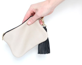 LUCIE Leather CREME wallet leather with black tassel