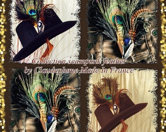 Feathers & metal applications patina gold and feathers