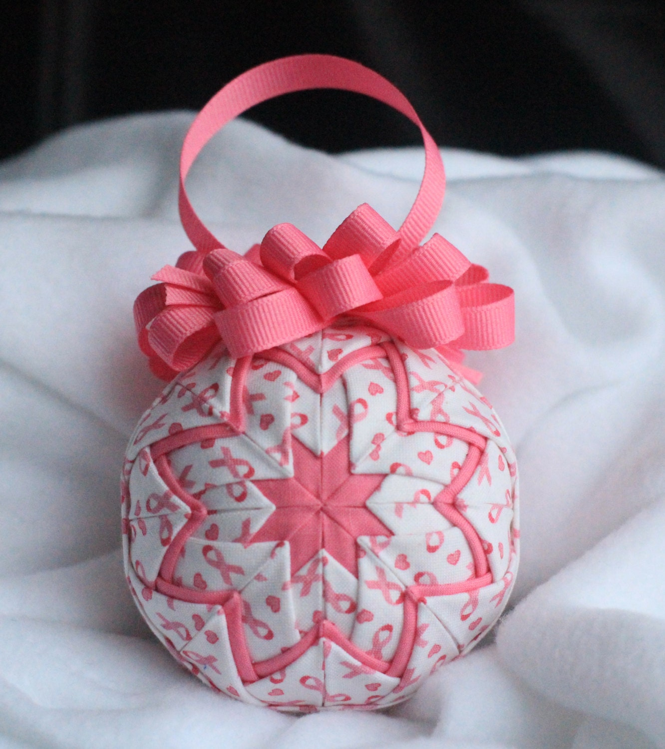 Pink Ribbon Quilted Ornament No-sew ornament Home decor