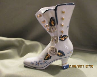 Blue & white boot,decorated shoe,applied roses,shoe bud vase,gold trim boot,gold trim shoe,blue and white shoe,high button shoe