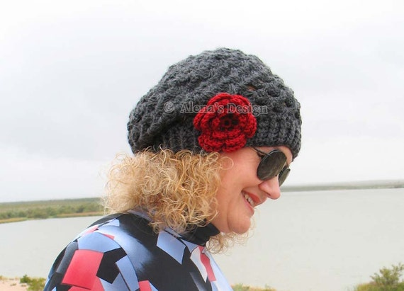 Crochet Pattern 057 - Crochet Hat Pattern - Hat Crochet Pattern Mary Slouchy Hat - Toddler Child Teen Adult Ladies Women Beret Red Lace Hat