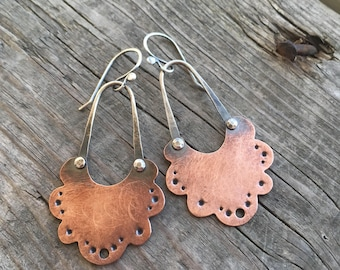 Copper Riveted Earrings—Copper Lacey Earrings II—Handcut Lacey Earrings in Raw Copper—Ready-to-Ship