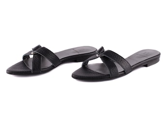 Black Leather Flat Shoes, Women Handmade Pointy-Toe Sandals, Flats Slip On Style, Women's Slides, Open Back Summer Shoes