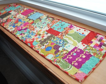 Handmade Quilted Table Runner  Disappearing Nine Patch Colorful Prints Green Blue Purple Orange