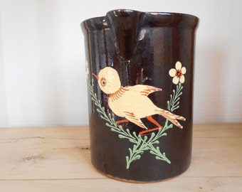 French antique pitcher, glazed pottery pitcher with bird decor, handsome antique earthen pitcher, French folk art.