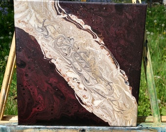 "Fluid Art Painting - ""Golden Line"" 12x12 Acrylic"