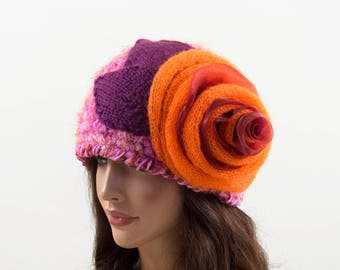 Crochet Beanie Hat with Large Flower - Pink, Orange and Purple, Size M