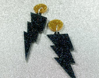 Black Glitter Lightning- Laser cut acrylic earrings
