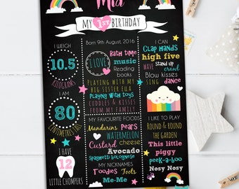 First Birthday Chalkboard Sign, Rainbow Birthday sign, Rainbow party, Birthday Chalkboard poster, 1st Birthday Sign Blackboard one year old