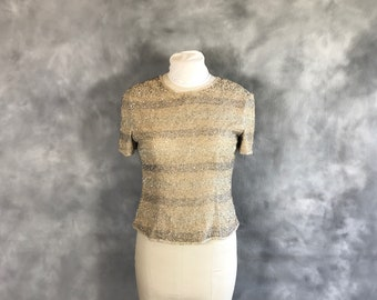 Beige Sequin Silk Blouse, Sequin Silver and Gray Stripe Blouse, Beaded Blouse, Beaded Top, Size Small